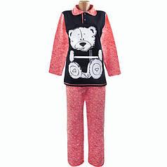 Теплая пижама начесная Мишка оптом и в розницу 52-54