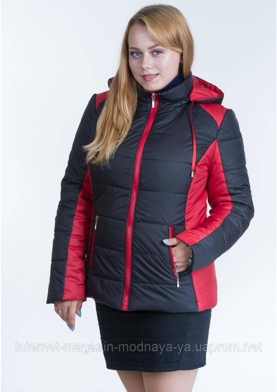Куртка женская комбинированная №15 р. 44-56 черный с красным