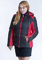 Куртка женская комбинированная №15 р. 44-56 черный с красным, фото 1