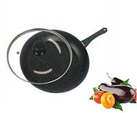 Сковорода с антипригарным мраморным покрытием с крышкой Benson BN-504 (28*5,5см) | сковородка
