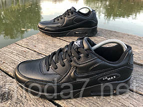 Кроссовки женские черные Nike Air Max 90 нат. кожа реплика, фото 2