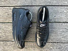 Кроссовки женские черные Nike Air Max 90 нат. кожа реплика, фото 3
