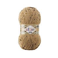 Турецкая пряжа для вязания Alize - ALPACA TWEED (альпака твид)- 262 светло-бежевый