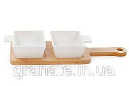 Пиалы соусницы фарфоровые на бамбуковой подставке 100 мл