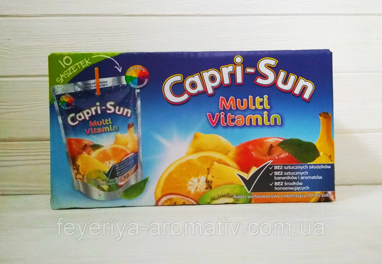Сок мультифруктовый с трубочкой Capri-Sun Multi vitamin (коробка 10шт*200ml) (Германия)