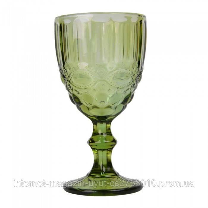 """Набор 6 бокалов для вина """"Ornament"""" 300мл зеленое стекло"""