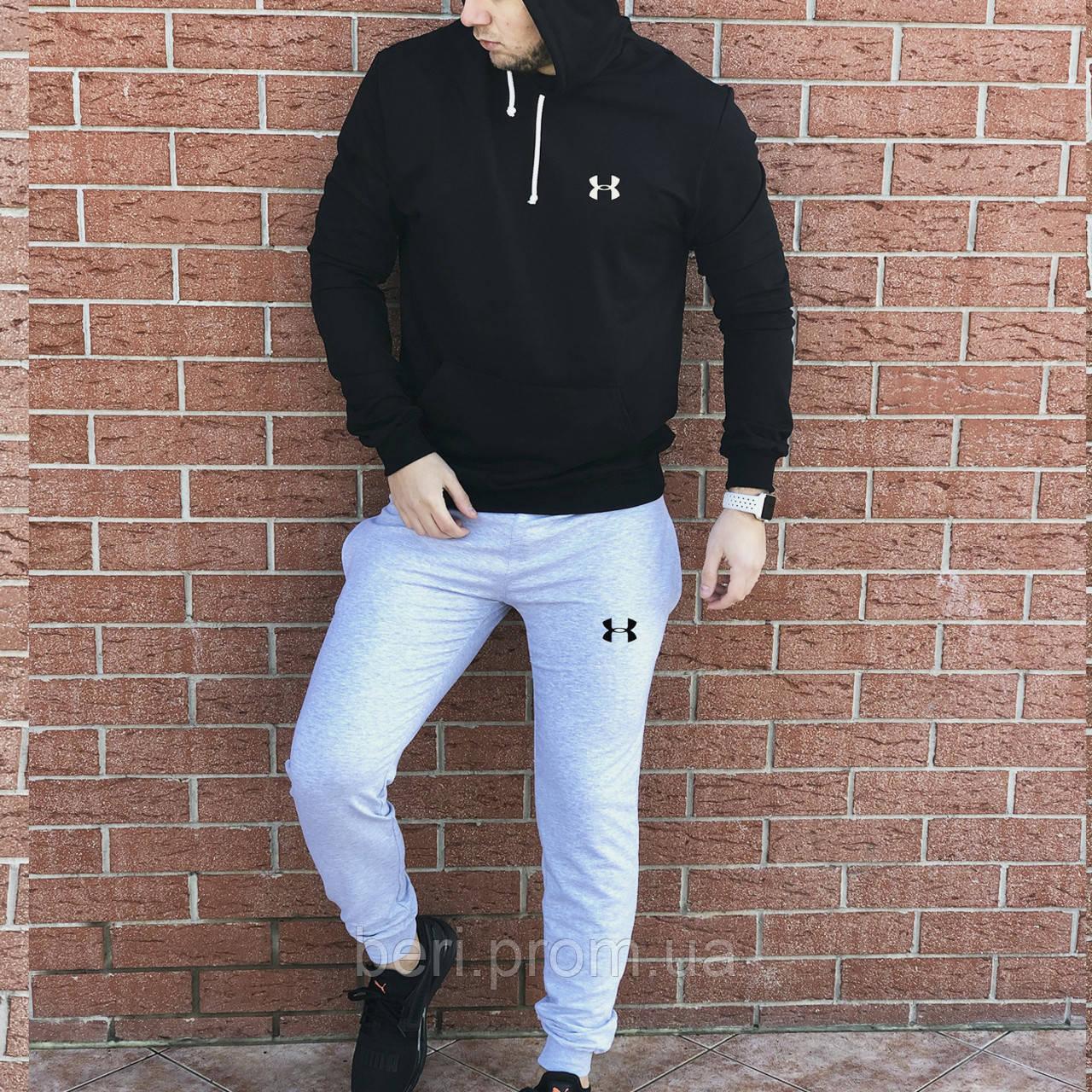 КАЧЕСТВО! UNDER ARMOUR | Мужской спортивный костюм. Чоловічий спортивний костюм | АНДЕР АРМОР (Черно-Серый)