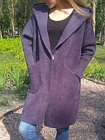Пальто кардиган альпака - ламаимитация меха с капюшоном и глубокими карманами