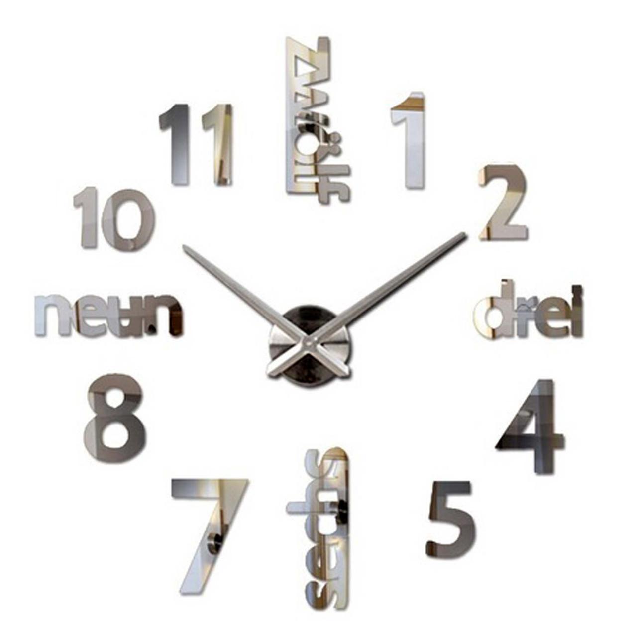 "Настінні годинники 3D Великі ""Zeit"" - годинник наклейка з дзеркальним ефектом, незвичайні настінні 3Д годинник стікери"
