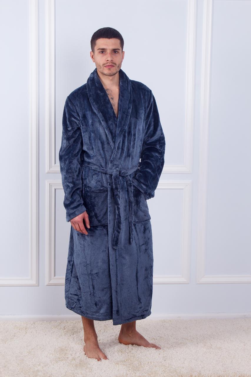 Халат чоловічий махровий бамбук дрібна смужка без капюшона Синій