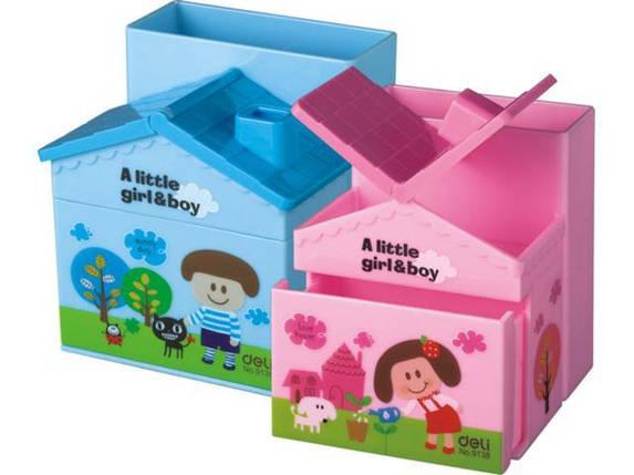 """Подставка для ручек Deli 9138Е розовый, синий """"Домик"""" пластик, фото 2"""