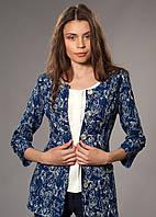 Женский удлиненный жакардовый джинсовый пиджак