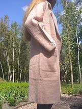 Пальто кардиган альпака - лама универсальный размер пудровый розовый с бусинами на рукавах, фото 3
