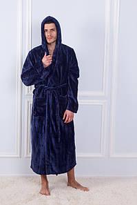 Халат мужской махровый бамбук полоска с капюшоном Синий