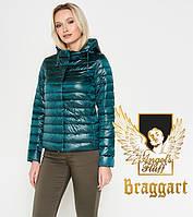 Короткий демисезонный женский воздуховик Braggart Angel's Fluff цвет изумрудный