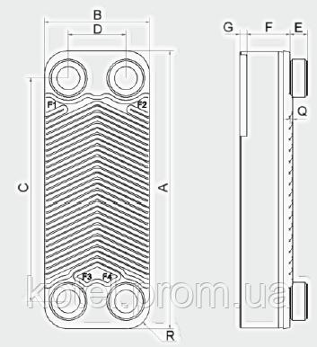 Пластинчатый паяный теплообменник Swep E5T ― схема, размеры