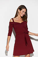 Короткое женское платье цвета марсала с поясом, фото 1