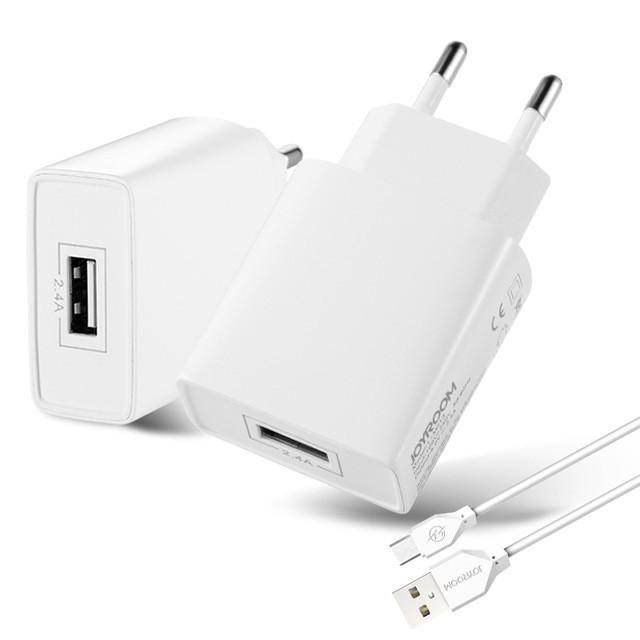Зарядний пристрій JOYROOM L-M213 + кабель Micro USB (EU) 1xUSB 2.4A Білий