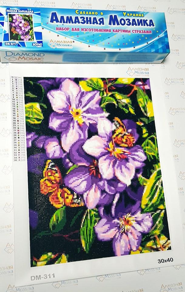 Алмазная мозаика Бабочки на цветах
