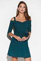 Короткое темно-зеленое платье с вырезом анжелика, фото 1