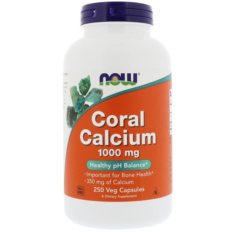 """Коралловый кальций NOW Foods """"Coral Calcium"""" 1000 мг, для здоровья костей (250 капсул)"""