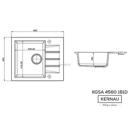 Kernau KGS A 4560 1B1D SAND гранитная мойка песочного цвета, фото 2