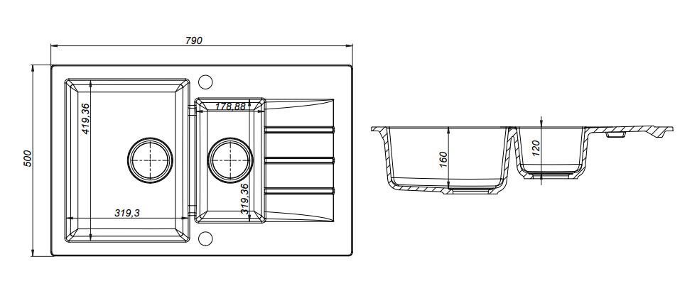 Kernau KGS A 6079 1,5B1D SAND гранитная мойка 2-х секционная, фото 2