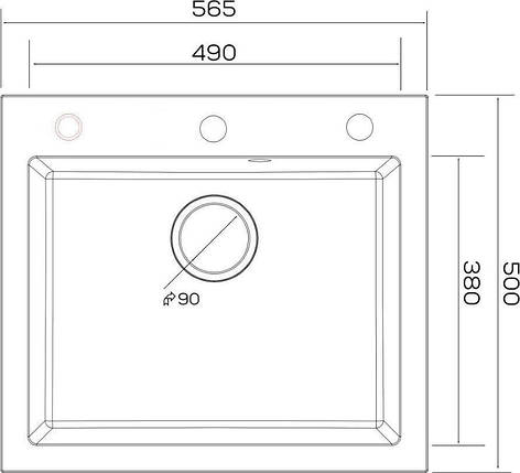 Kernau KGS H 60 1B GREY METALLIC кухонная мойка каменная серая 56*50 см, фото 2