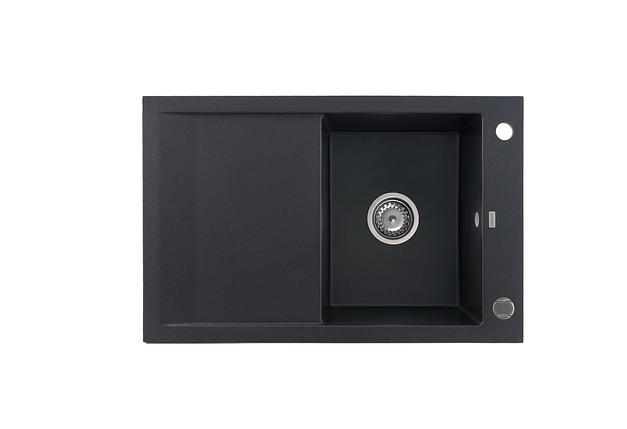 Kernau KGS M 45 1B1D BLACK METALLIC кухонная мойка из черного камня 78*50 см, фото 2