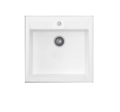 Kernau KGS N 60 1B PURE WHITE накладная кухонная мойка из гранита 62*60 см