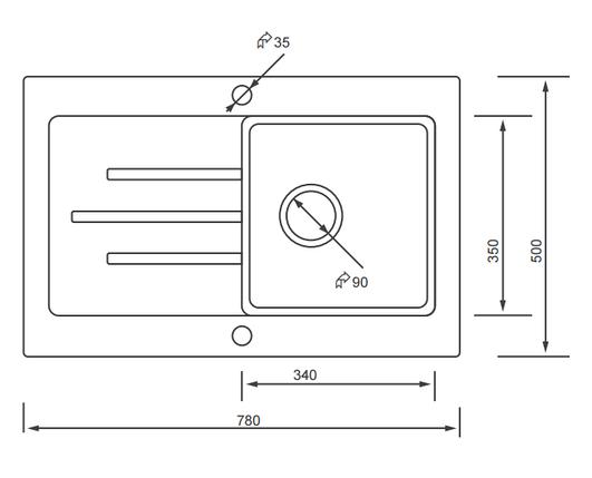 Kernau KGS V 45 1B1D SAND кухонная мойка бежевого цвета 78*50 см, фото 2