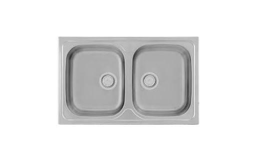 Kernau KSS G 804 2B LINEN Кухонная мойка  на два отделения из нержавеющей стали (34 X 40 X 16.5 cм), фото 2