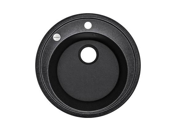 Kernau KGS T 51 1B BLACK METALLIC мойка черная круглая 51 см, фото 2