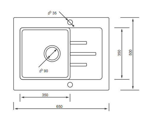 Kernau KGS V 4565 1B1D BLACK METALLIC кухонная мойка из черного камня 65*50 см, фото 2