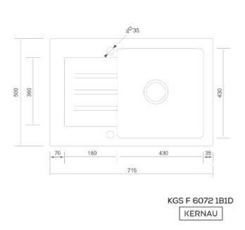 Kernau KGSF 6072 1B1D GRAPHITE мойка на кухню из гранита 72*50 см, фото 2