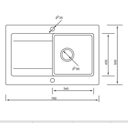 Kernau KGS W 45 1B1D SAND бежевая мойка на кухню из гранита 78*50 см, фото 2