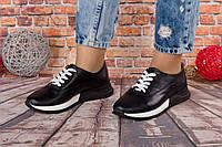 Женские кроссовки чёрного цвета из натуральной кожи
