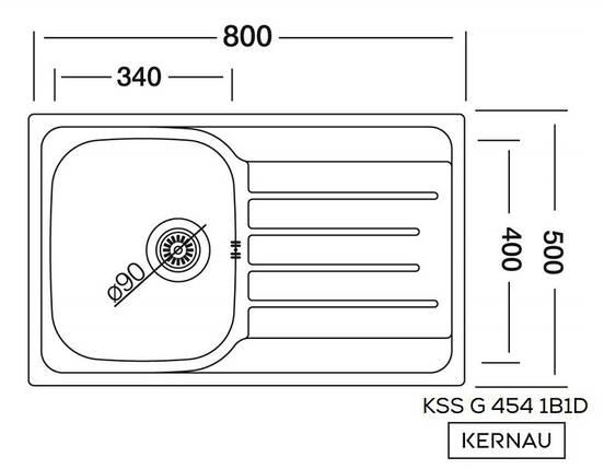 Kernau KSS G 454 1B1D LINEN мойка нержавейка с крылом для сушки (80х50 см), фото 2