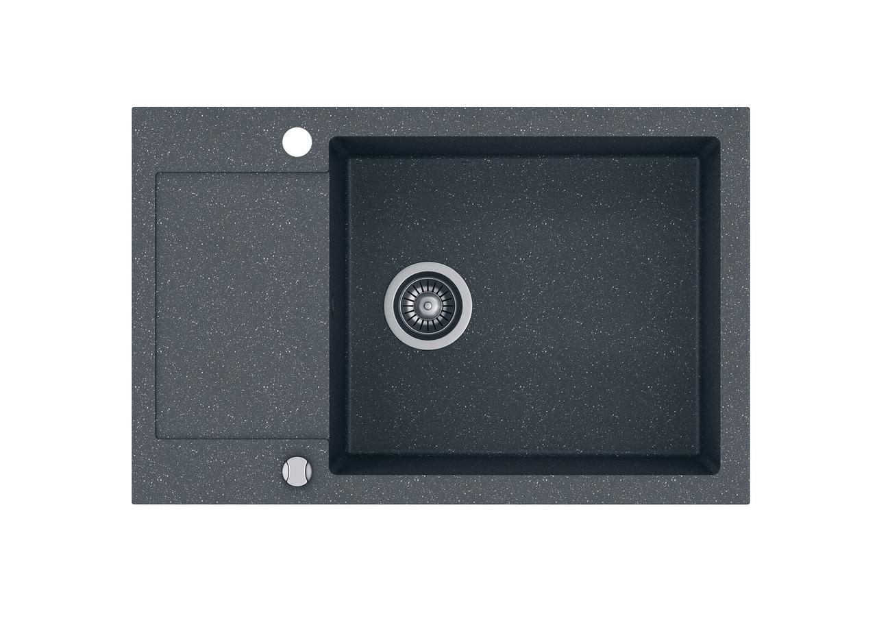 Kernau KGSH 6078 1B1D GRAPHITE черная мойка на кухню из гранита 78*50 см