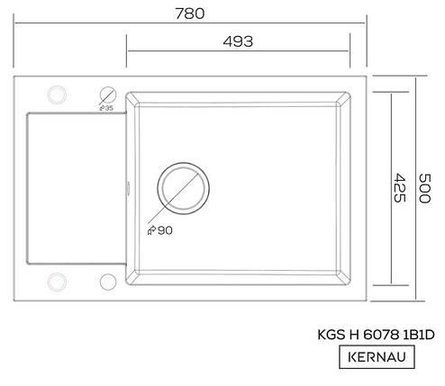 Kernau KGSH 6078 1B1D GRAPHITE черная мойка на кухню из гранита 78*50 см, фото 2