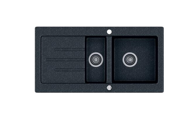 Kernau KGS V 60 1,5B1D BLACK METALLIC черная гранитная мойка 2-х секционная с крылом, фото 2