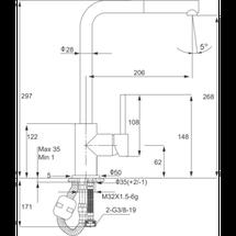 Kernau KWT 06A PO NATURAL BEIGE смеситель с выдвижной лейкой для кухни (сталь/натуральный беж), фото 3