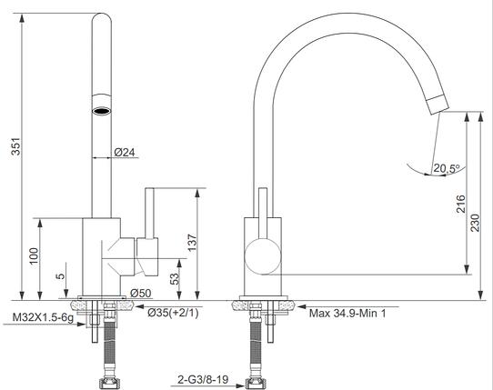 Kernau KWT 07A GRAPHITE высокий смеситель для кухни (сталь/графит), фото 2