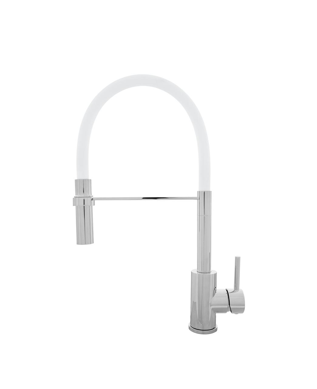Kernau KWT 20 PO CHROME/WHITE смеситель для кухни с душем (сталь/хром/белый)