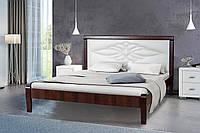 Кровать деревянная  двуспальная 160х200 Скиф с мягким изголовьем