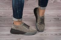 Женские кросовки из натуральной замши серого цвета.