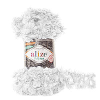 Пряжа с петлями для вязания руками Alize Puffy Fur 6100 (нитки с петельками Ализе Пуффи Фер Фур)