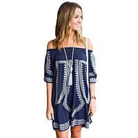 Bohemian Vibe Geometric Print Off The Shoulder Beach Dress