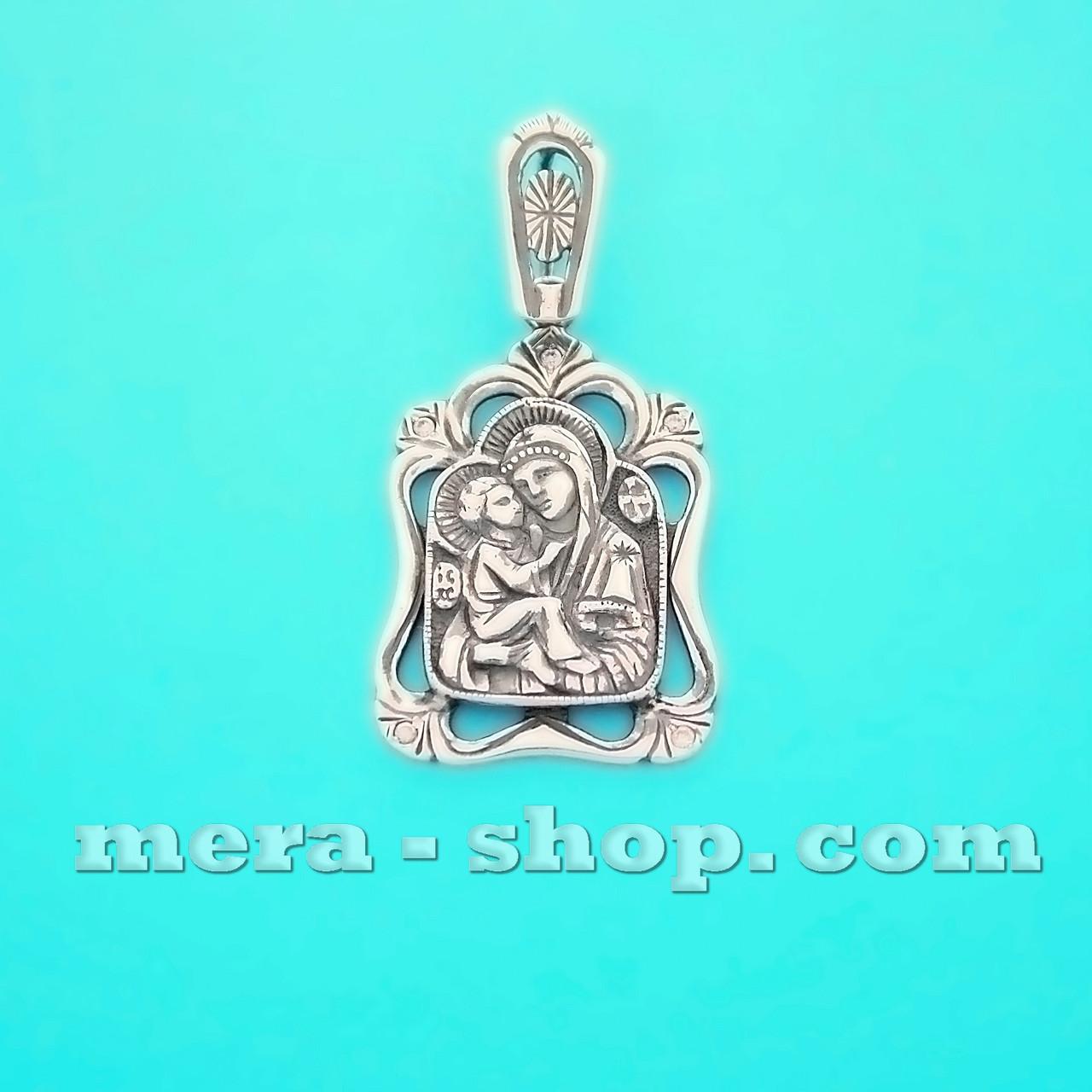Серебряная ладанка Богородица с младенцем