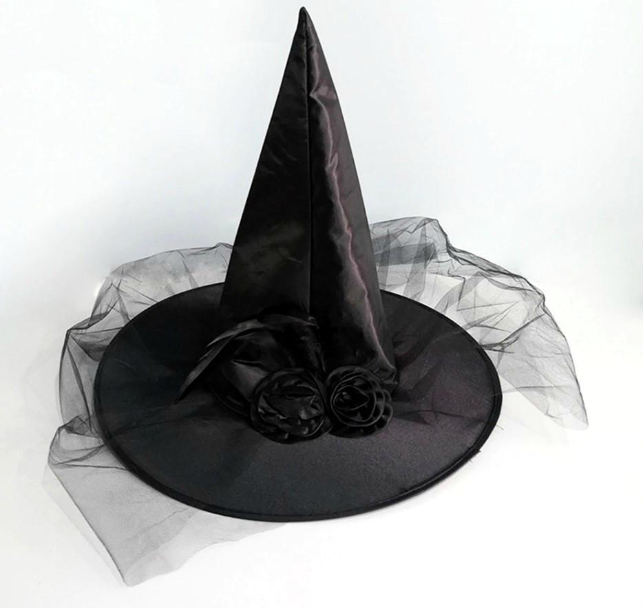 Шляпа Ведьмы атласная (черная)